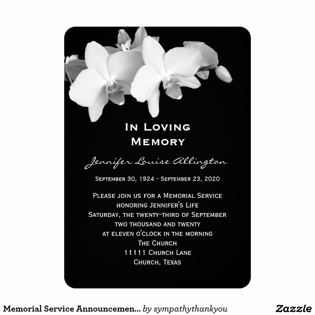 "Memorial Service Invitations Templates Inspirational Memorial Service Announcement orchids 5"" X 7"" Invitation"