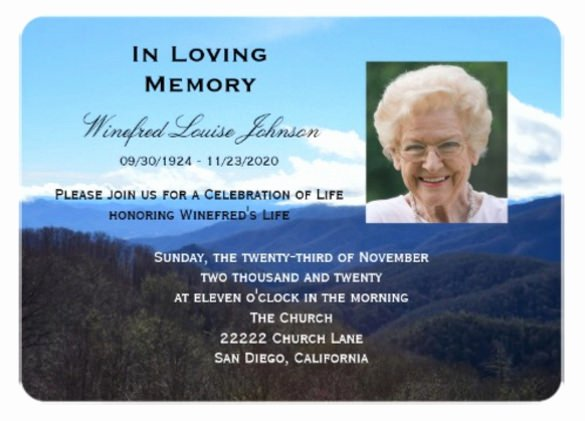 Memorial Service Invitations Templates Lovely Funeral Service Invitation Templates