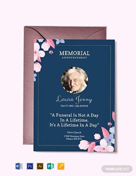 Memorial Service Invitations Templates Luxury Free Memorial Service Announcement Invitation Template