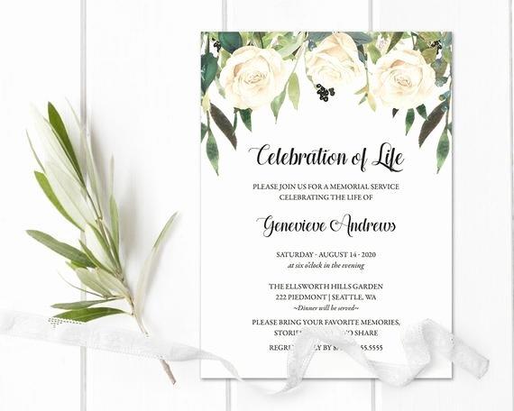 Memorial Service Invitations Templates New Celebration Of Life Invitation Template Funeral