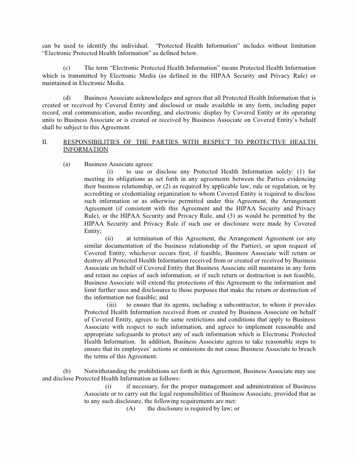 Mental Health Confidentiality Agreement Template Awesome Sample Business associate Agreement