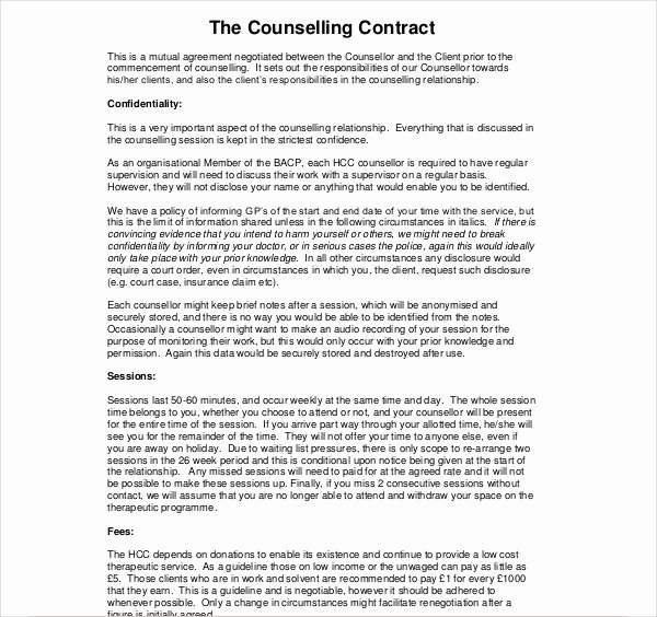 Mental Health Confidentiality Agreement Template Elegant Client Confidentiality Agreement Counselling
