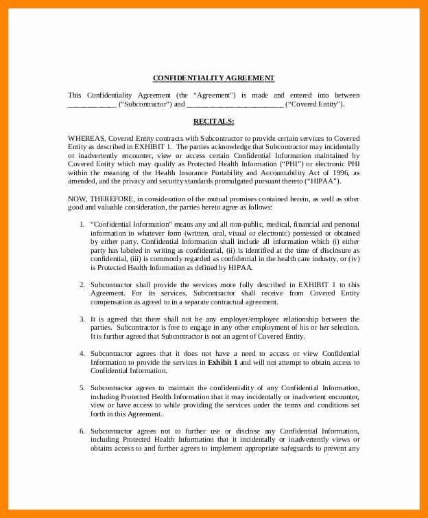 Mental Health Confidentiality Agreement Template Unique Medical Confidentiality Agreement