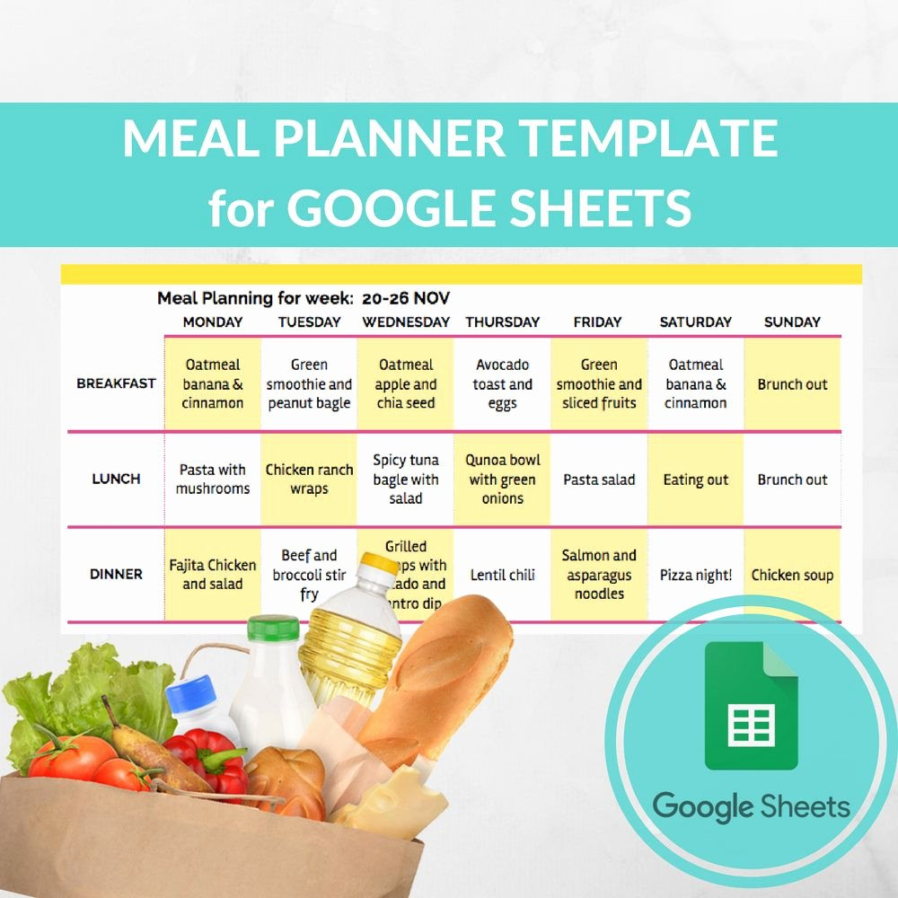Menu Template Google Docs Best Of Meal Planner Template Spreadsheet Grocery Planning Excel