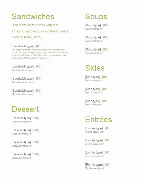 Menu Template Google Docs Unique 35 Free Menu Templates Word Doc Psd Designs