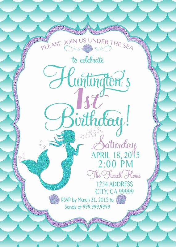 Mermaid Birthday Invitation Templates Beautiful Mermaid Birthday Invitation Mermaid Party Invite Under
