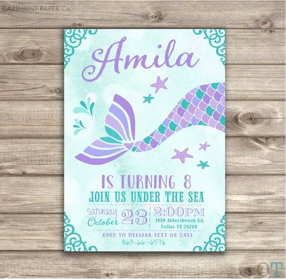 Mermaid Birthday Invitation Templates Beautiful Mermaid Invitation Template Negocioblog