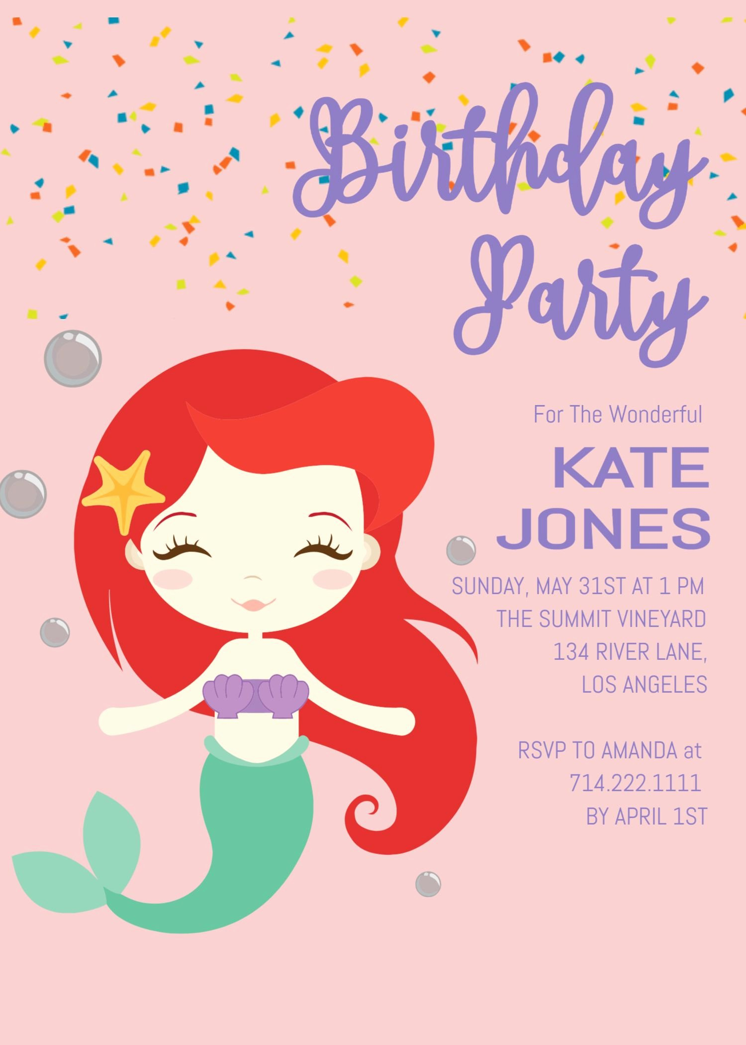 Mermaid Birthday Invitation Templates Lovely Little Mermaid Birthday Invitation Invite Under the Sea