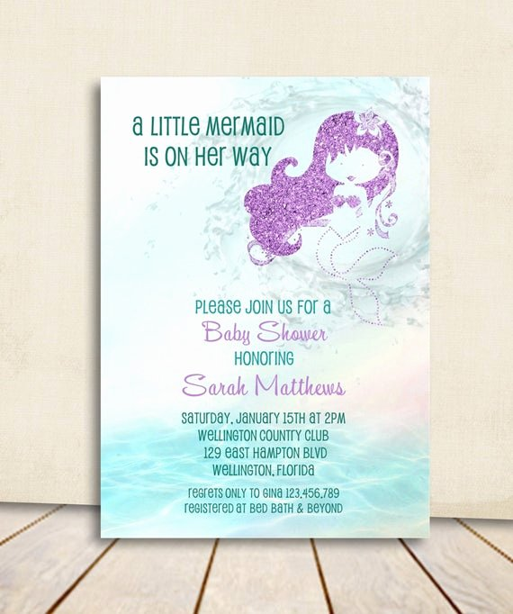 Mermaid Birthday Invitation Templates Lovely Mermaid Baby Shower Invitation Turquoise and Purple Glitter