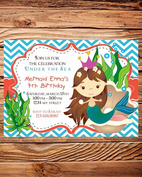 Mermaid Birthday Invitation Templates Lovely Mermaid Birthday Party Invitation Girl Little Mermaid