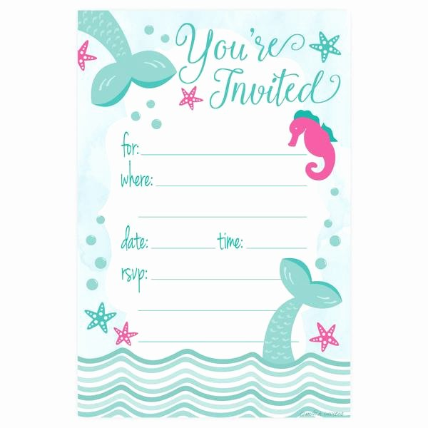 Mermaid Birthday Invitation Templates Lovely Mermaid Party Invitation Under the Sea theme