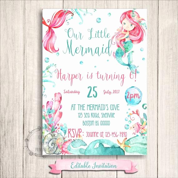 Mermaid Birthday Invitation Templates New Mermaid Birthday Invitations Little Mermaid Printables Under