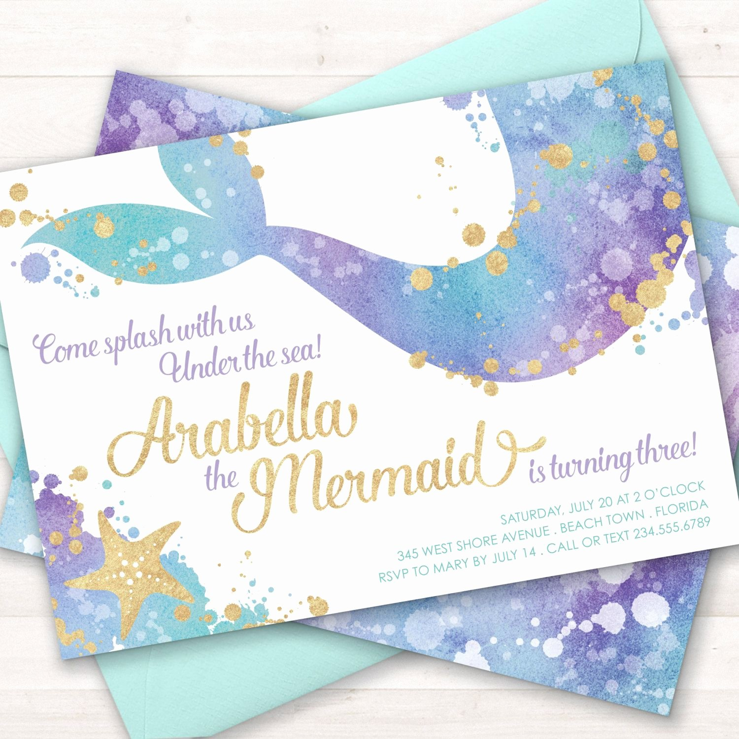 Mermaid Birthday Invitation Templates New Mermaid Invitation Mermaid Party Invite Under the Sea