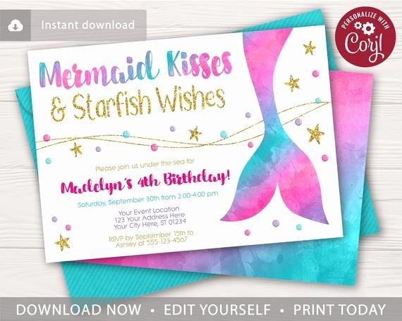 Mermaid Birthday Invitation Templates Unique Mermaid Birthday Invitation In Watercolor Hot Pink Purple
