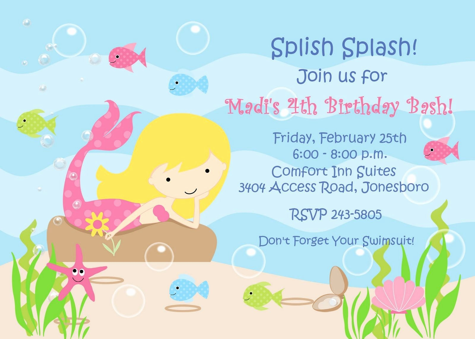 Mermaid Birthday Invitation Templates Unique Mermaid Invitation Template Free – Invitetown