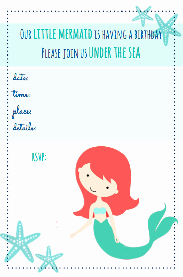Mermaid Invitation Template Awesome Beachy Mermaid Party