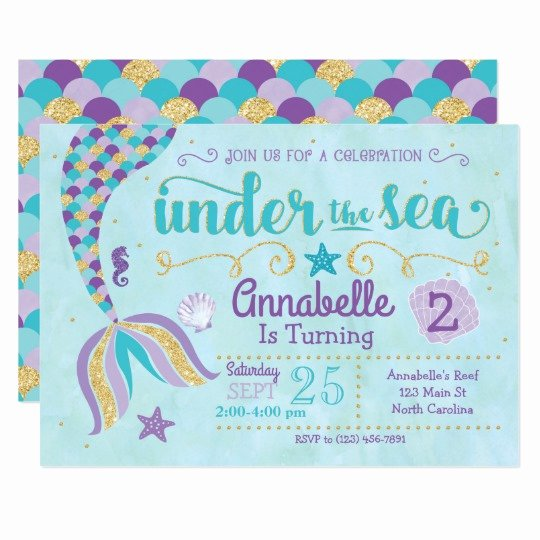 Mermaid Invitation Template Awesome Mermaid Invitation Under the Sea Invite