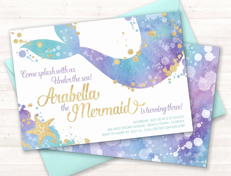 Mermaid Invitation Template Beautiful Mermaid Invitation Mermaid Party Invite Under the Sea Party