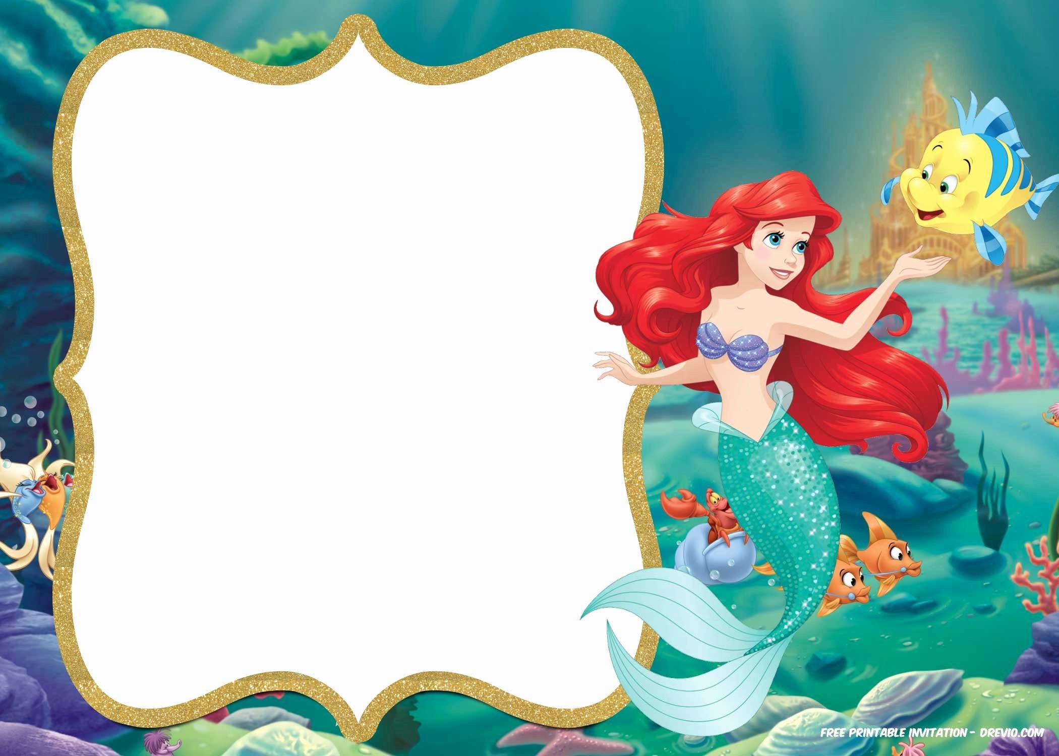 Mermaid Invitation Template Best Of Free Printable Ariel Little Mermaid Invitation Template