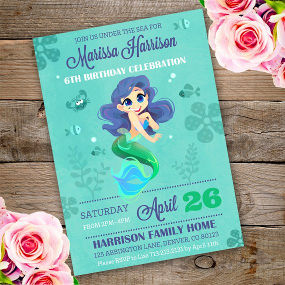 Mermaid Invitation Template Best Of Mermaid Birthday Party Invitation Template Edit with