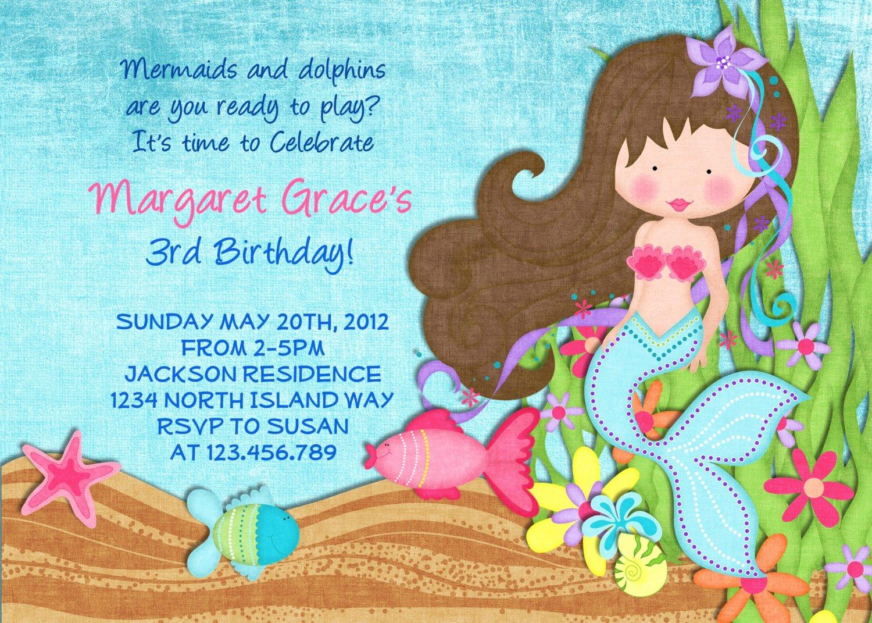 Mermaid Invitation Template Elegant Free Printable Little Mermaid Printable Birthday
