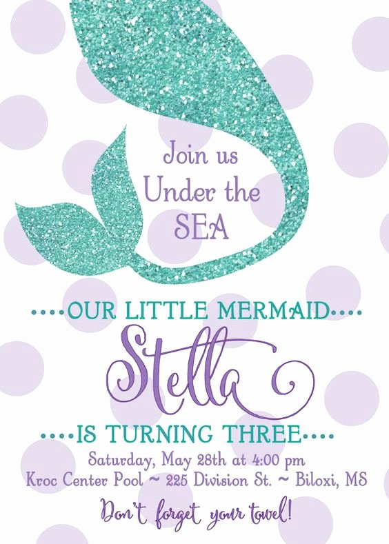 """Mermaid Invitation Template Elegant Mermaid Birthday Party Invitation """"under the Sea"""