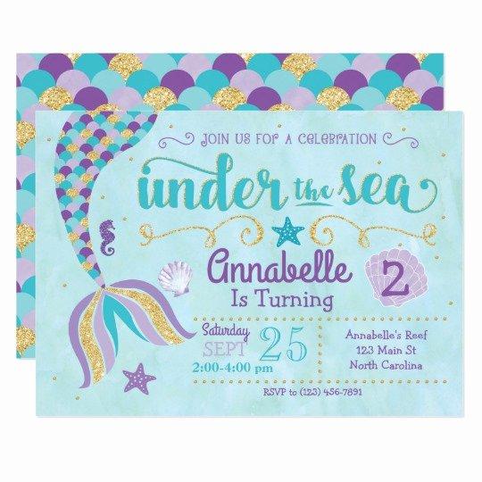 Mermaid Invitation Template Free Beautiful Mermaid Invitation Under the Sea Invite