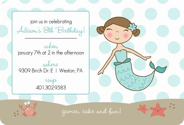 Mermaid Invitation Template Free Elegant Blue Mermaid and Dots Kids Party Invitation Template