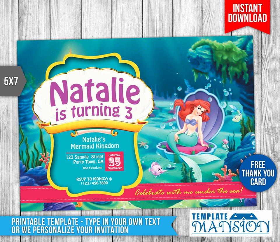 Mermaid Invitation Template Free Inspirational Little Mermaid Birthday Invitation Printable by