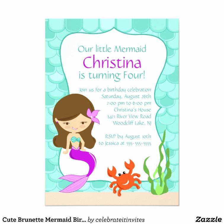 Mermaid Invitation Template Free Lovely Cute Brunette Mermaid Birthday Invitation