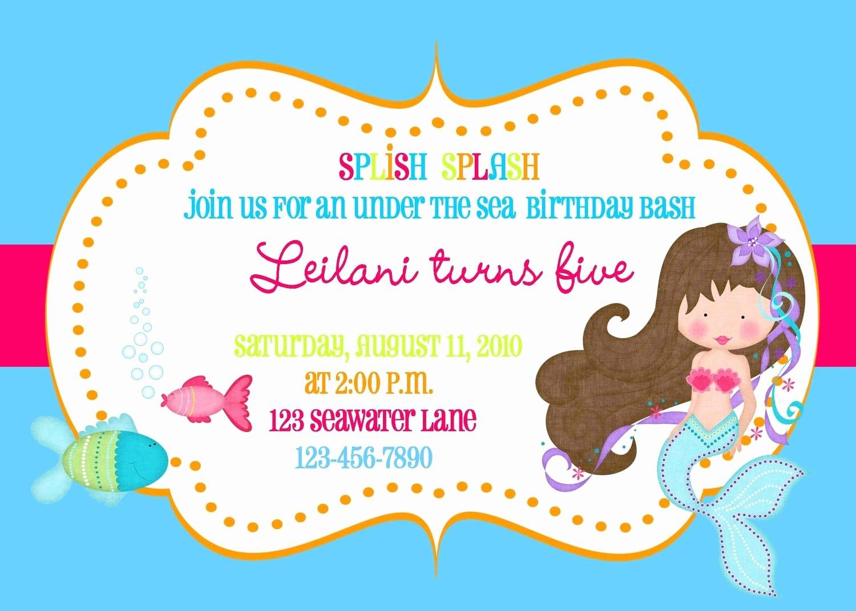 Mermaid Invitation Template Free Lovely Free Mermaid Invitation Template
