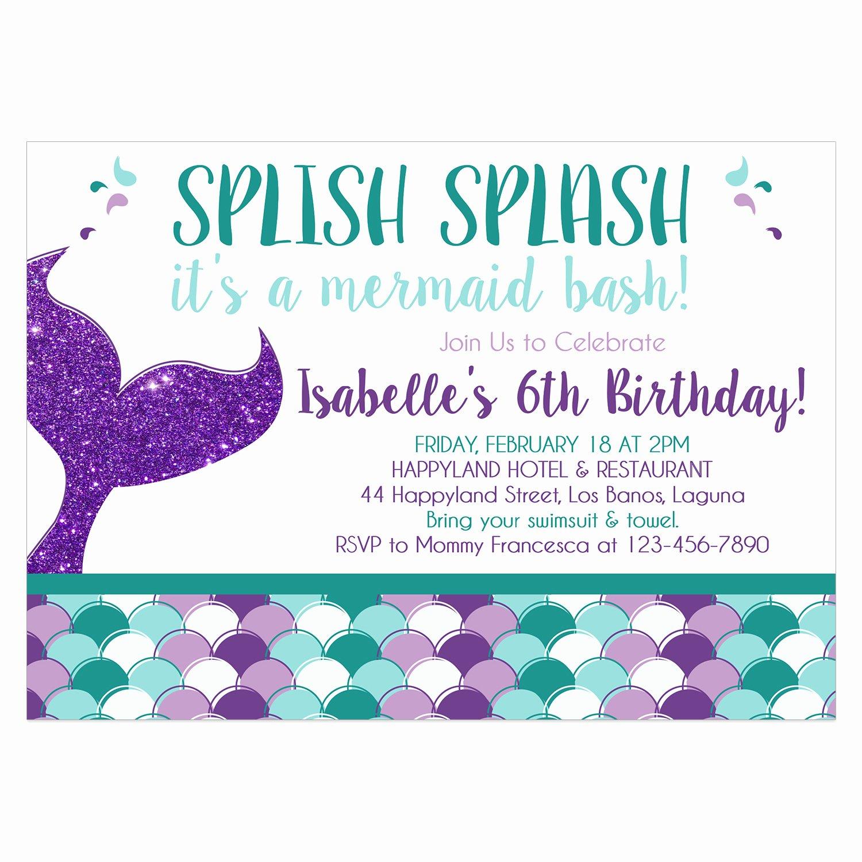 Mermaid Invitation Template Free Lovely Mermaid Birthday Invitation Diy Printable Template