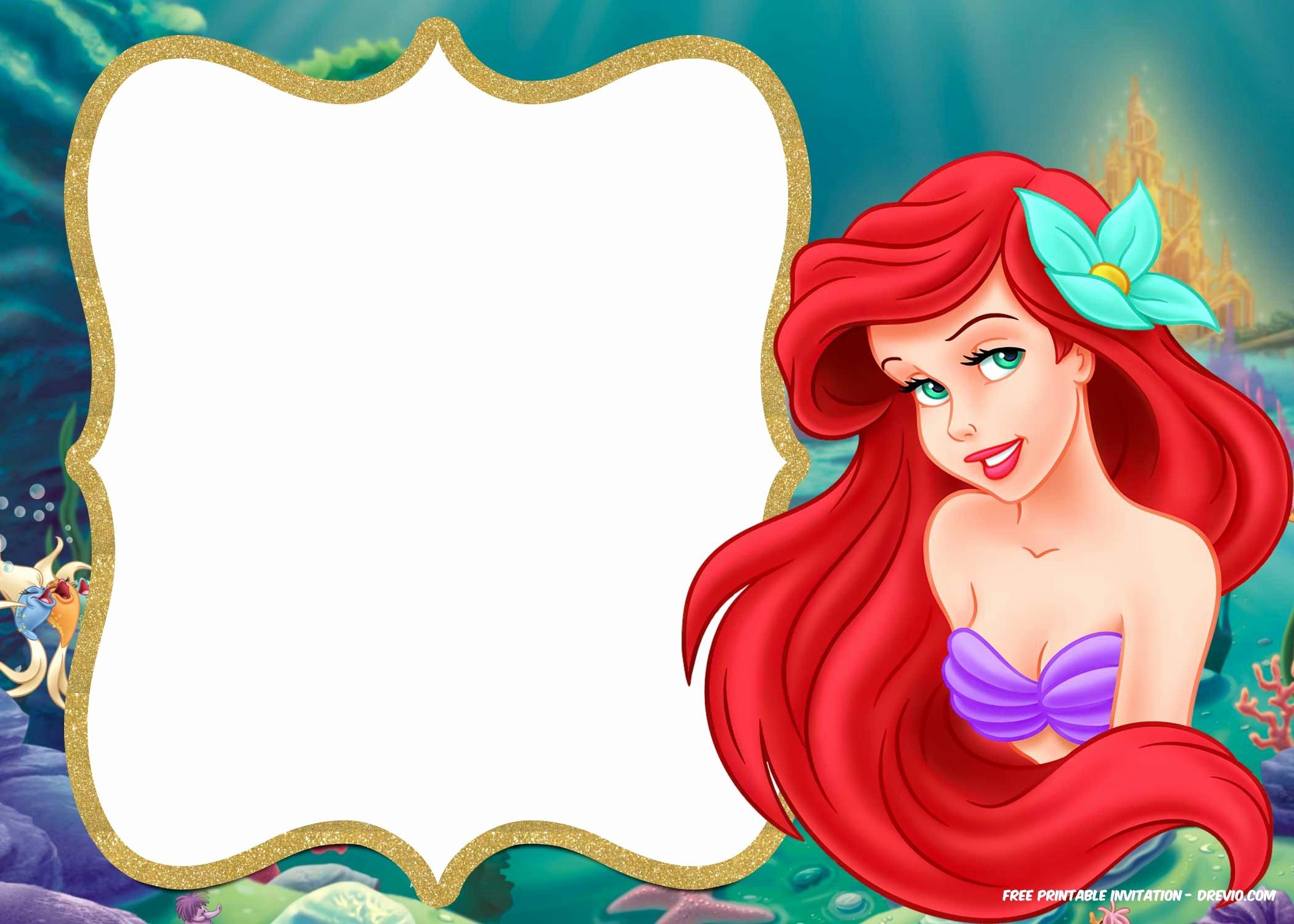 Mermaid Invitation Template Free Luxury Free Printable Ariel Little Mermaid Invitation Template