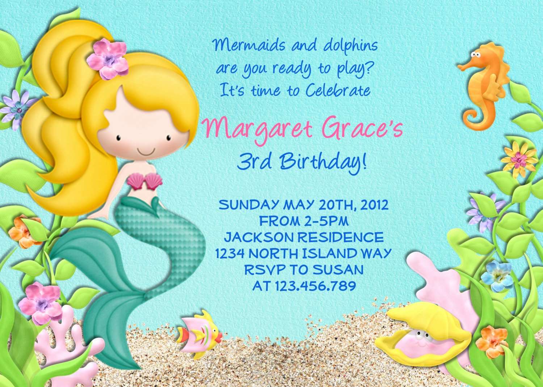 Mermaid Invitation Template Free Luxury Mermaid Birthday Party Invitations – Bagvania Free