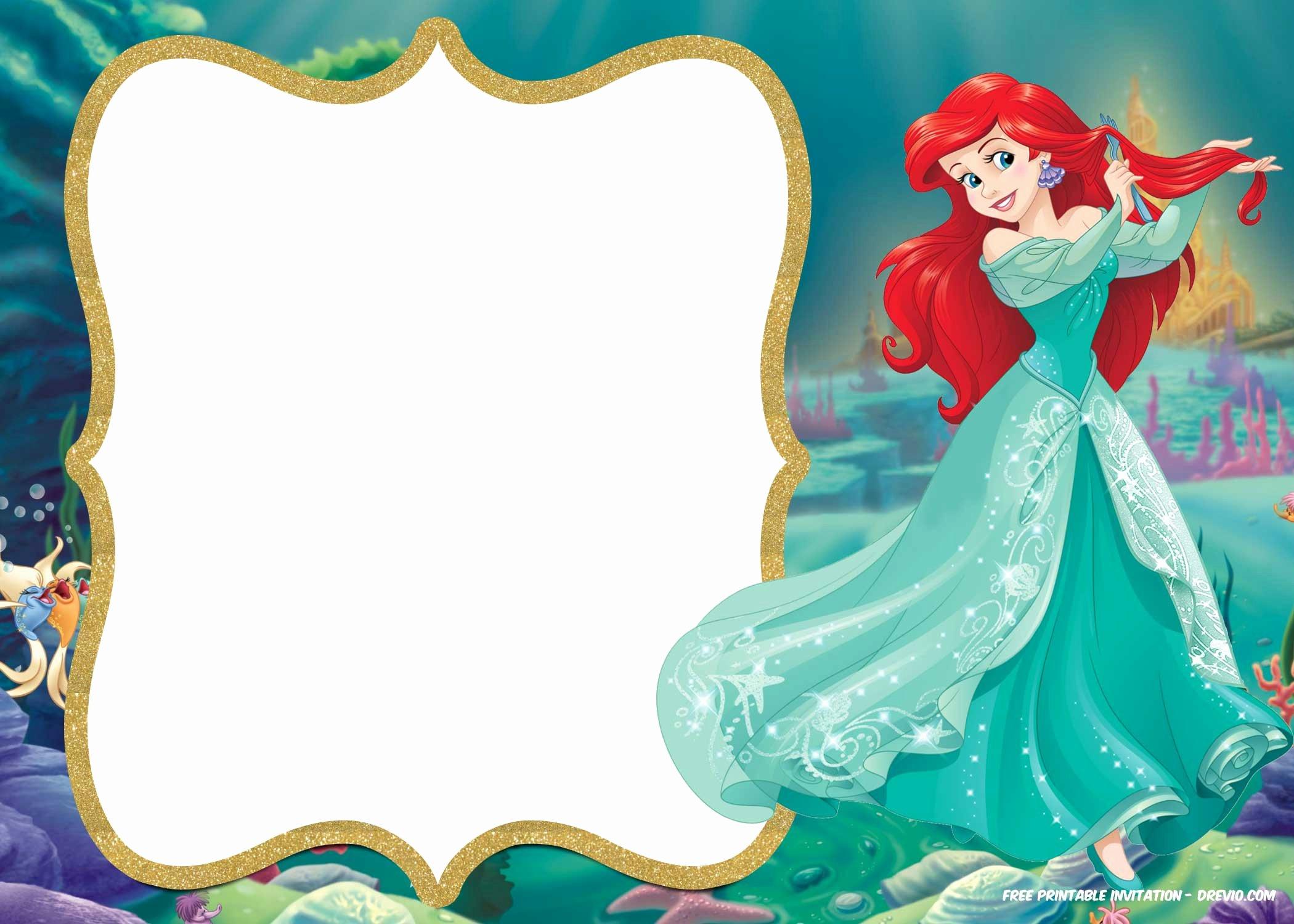 Mermaid Invitation Template Free New Free Printable Ariel Little Mermaid Invitation Template