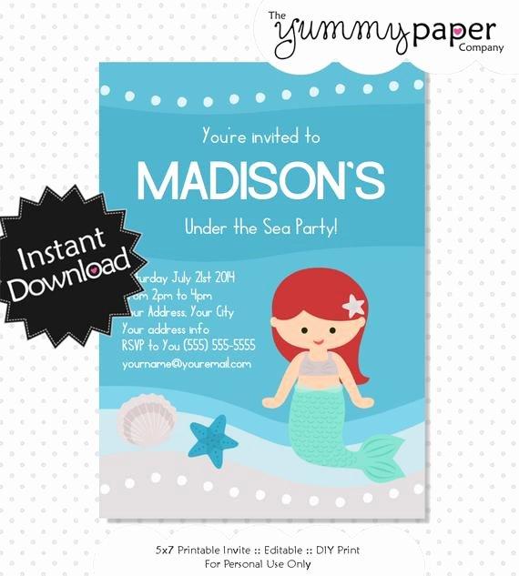 Mermaid Invitation Template Free Unique Editable Mermaid Invitation Instant Download Printable