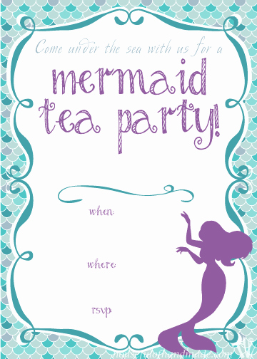 Mermaid Invitation Template Free Unique Mermaid Tea Party Birthday