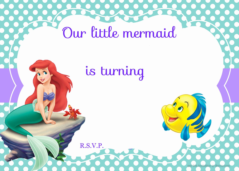 Mermaid Invitation Template Free Unique Updated Free Printable Ariel the Little Mermaid