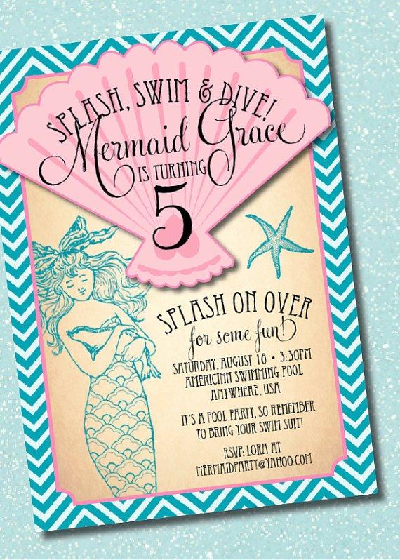 Mermaid Invitation Template Fresh Diy Printable Vintage Mermaid Birthday Party Invitation
