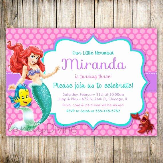 Mermaid Invitation Template Luxury Little Mermaid Birthday Invitation Ariel Invitation Ariel