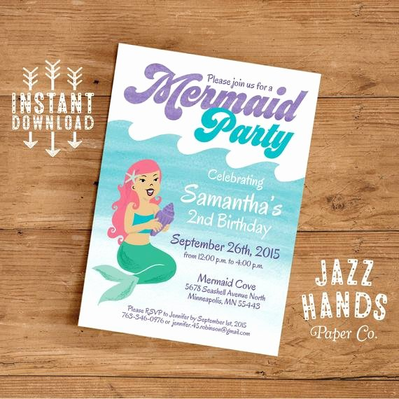 Mermaid Invitation Template New Mermaid Birthday Invitation Template Diy by Jazzhandspaperco