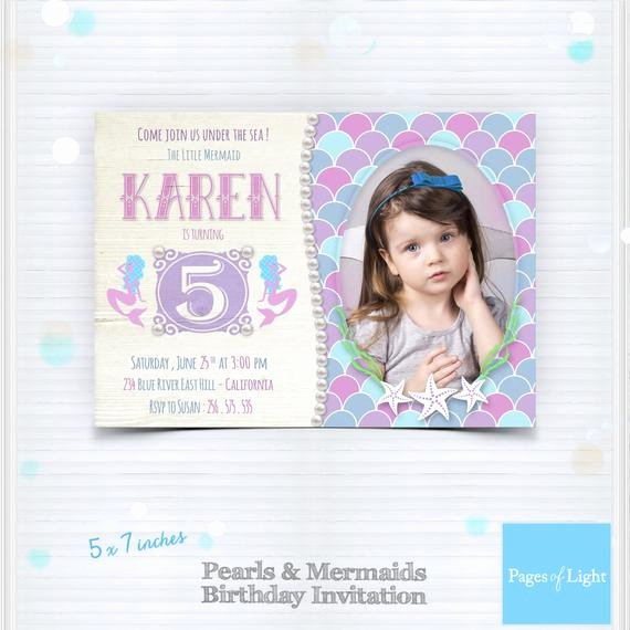 Mermaid Invitation Template New Mermaid Party Invitation Pearls Birthday by Pages Light