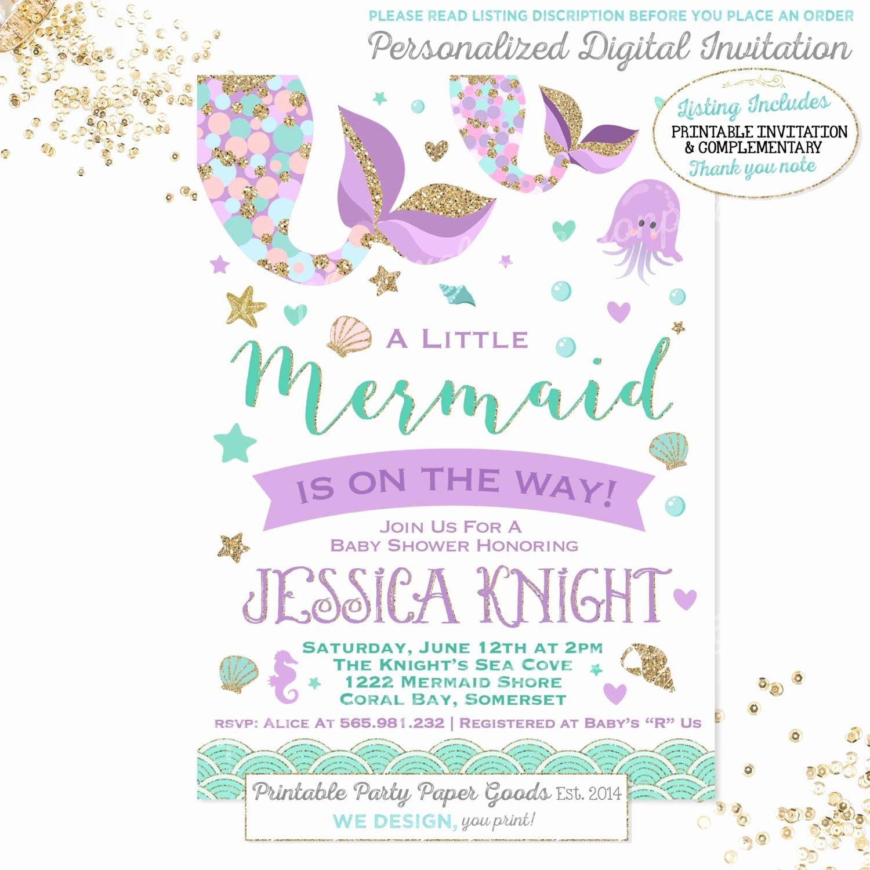 Mermaid Invitation Template Unique Mermaid Baby Shower Invitation Little Mermaid Baby Shower