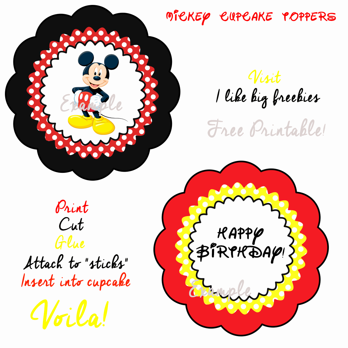 Mickey Mouse Cake Template Free Beautiful I Like Big Freebies Mickey Mouse Cupcake toppers Free