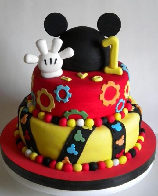 Mickey Mouse Cake Template Free Fresh Mickey Mouse 2 Tier First Birthday Cake with White Glove