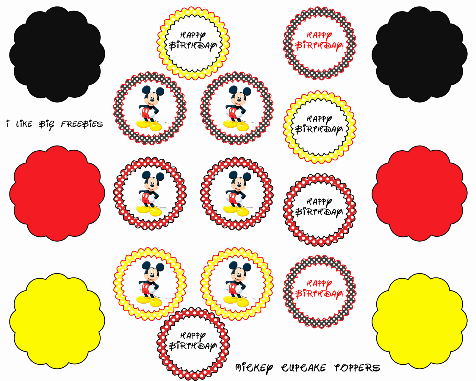 Mickey Mouse Cake Template Free Inspirational Mickey Mouse Cupcake toppers Free Printable
