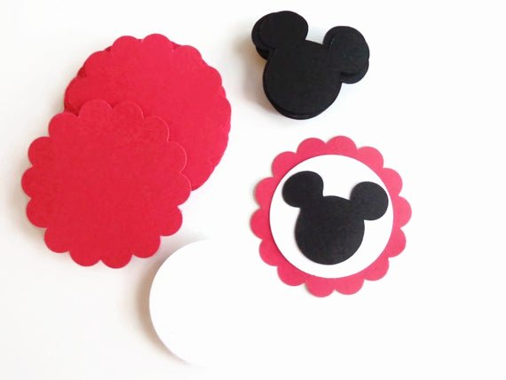 Mickey Mouse Cut Out Ears New 20 Diy Die Cut Mickey Mouse Birthday Tags Mickey Mouse Ears