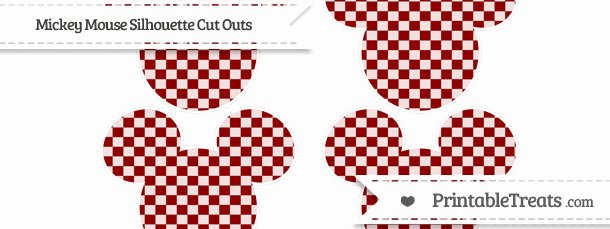 Mickey Mouse Cut Out Printable Inspirational Dark Red Checker Pattern Medium Mickey Mouse Silhouette