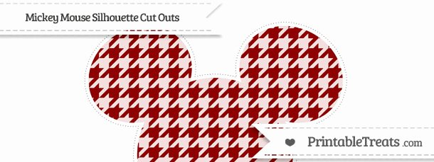 Mickey Mouse Cut Out Printable Lovely Dark Red Houndstooth Pattern Extra Mickey Mouse