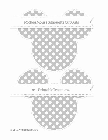 Mickey Mouse Cut Out Printable Lovely Silver Dotted Pattern Mickey Mouse Silhouette Cut